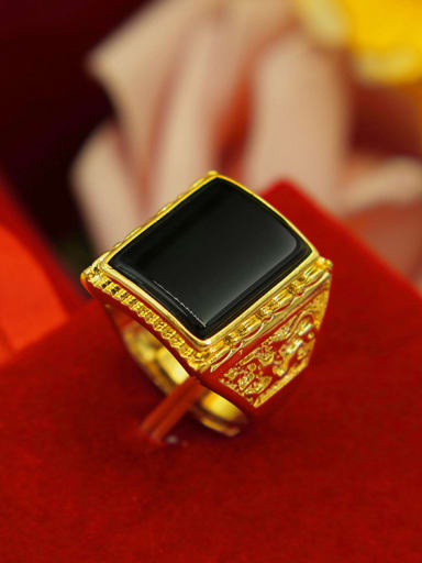 Men Exquisite Square Shaped Agate Ring