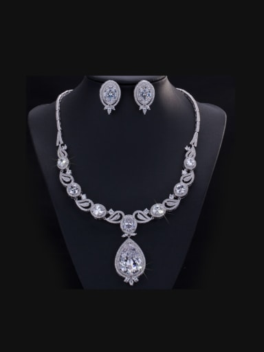 Water Drop Wedding Accessories Two Pieces Jewelry Set