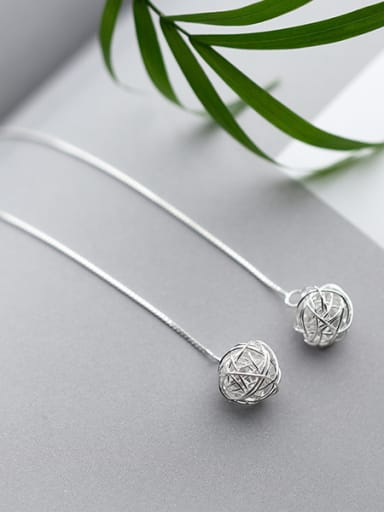 925 Sterling Silver With Platinum Plated Simplistic Ball Threader Earrings