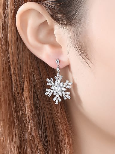 Copper With Platinum Plated Delicate Snowflake Cluster Earrings