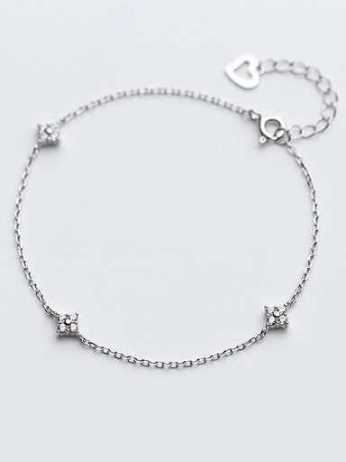 Temperament Square Shaped Shining Zircon S925 Silver Bracelet