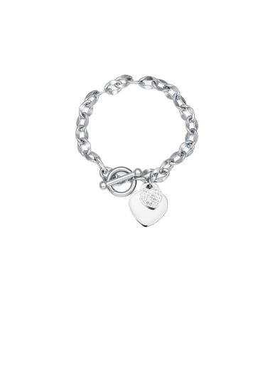 Titanium With White  Cubic Zirconia Personality Heart-shaped Pendant  Bracelets