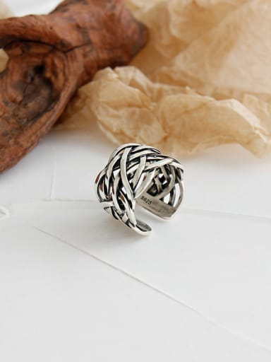 925 Sterling Silver With Antique Silver Plated Vintage Hollow  Irregular Free Size Rings
