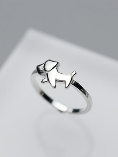 Lovely Dog Shaped Open Design S925 Silver Ring