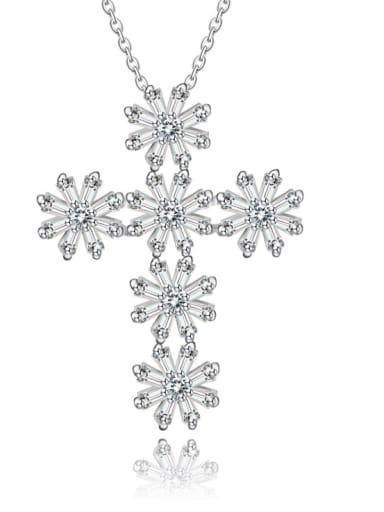 Copper inlaid AAA zircon shining Cross Necklace