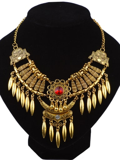 Exaggerated Retro style Water Drop shaped Tassels Stones Necklace