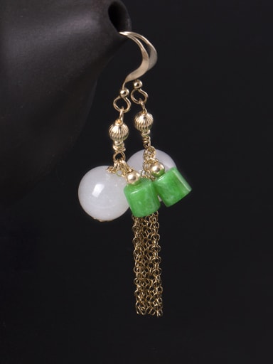 Temperament Ntural White Jade Hook Earrings