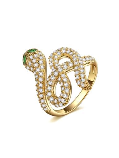 Creative new miniature zircon snake shape free size ring