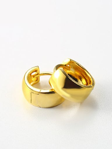 Simple Smooth Gold Plated Clip Earrings