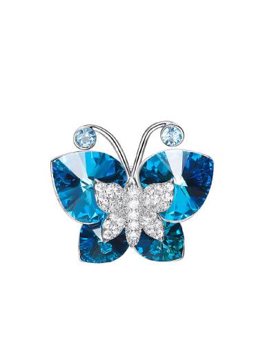 Fashion Butterfly Blue Swarovski Crystals Brooch