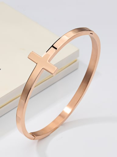 Fashion Cross Rose Gold Plated Women Bangle