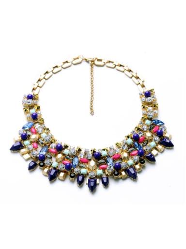 Fashion Colorful Rhinestones Rivet Alloy Necklace
