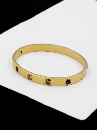 Zircons Exquisite Color Plated Fashion Titanium Bangle