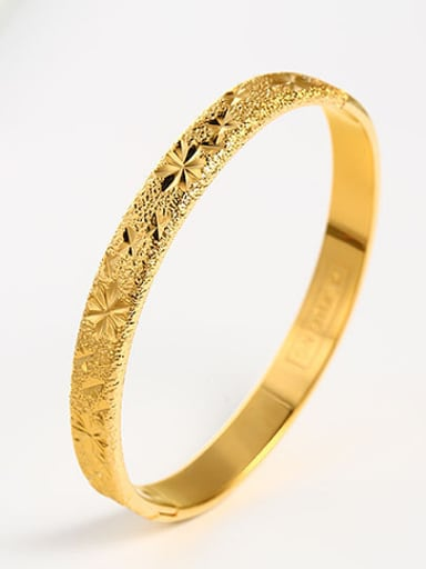Copper Alloy 24K Gold Plated Ethnic Creative Stamp Bangle
