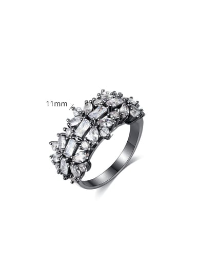 Copper inlaid AAA cubic zirconia flower free size ring