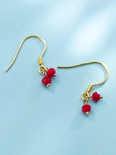 Temperament Gold Plated Red Beads S925 Silver Drop Earrings