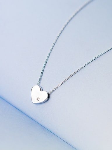 Fresh Heart Shaped Rhinestone S925 Silver Necklace