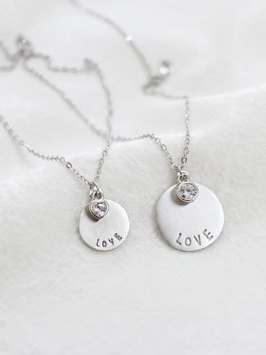 925 Sterling Silver With Silver Plated Romantic Round Monogram & Name Necklaces