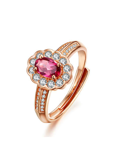 Rose Gold Plated Gemstone Flowery Ring