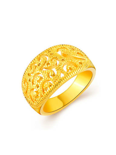 Women Personality Hollow Design Gold Plated Copper Ring