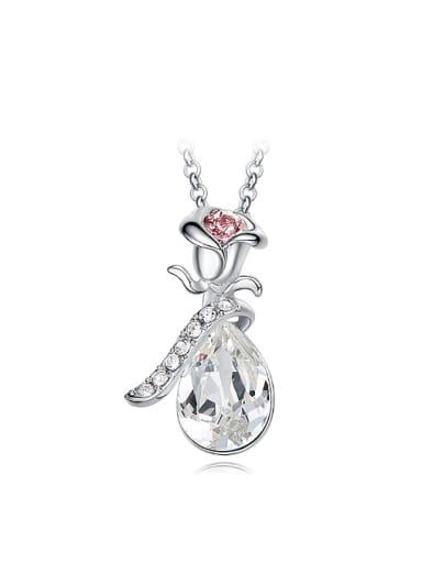 Fashion Rosary Flower Water Drop Swarovski Crystal Copper Pendant