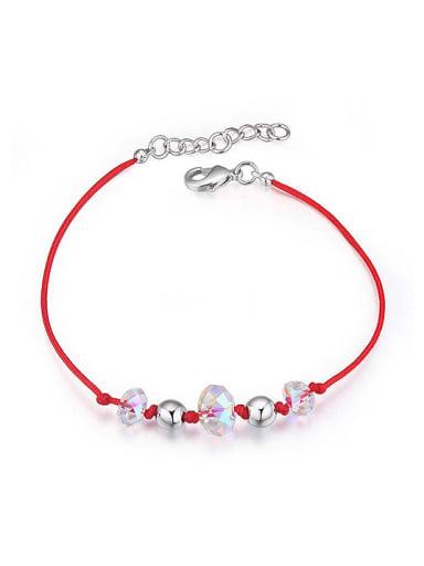 Simple White Swarovski Crystals Beads Red Rope Bracelet