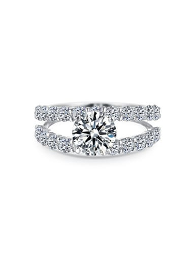 925 Sterling Silver Round Shaped Zircon Ring