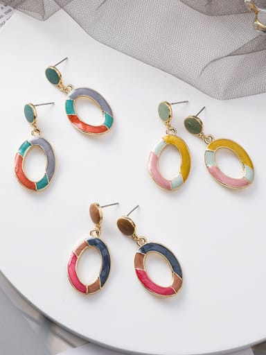 Alloy With Imitation Gold Plated Simplistic Oval Drop Earrings