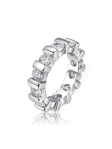 Simple White Cubic Zirconias Copper Ring