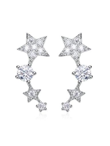 Fashion Tiny Cubic Zirconias Stars 925 Silver Stud Earrings