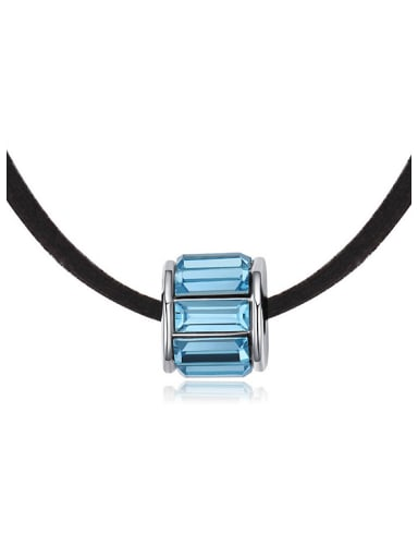 Simple Blue Swarovski Crystals Black Band Necklace
