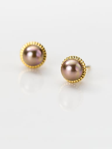 925 Sterling Silver With Gold Plated Fashion Pearl Round Stud Earrings