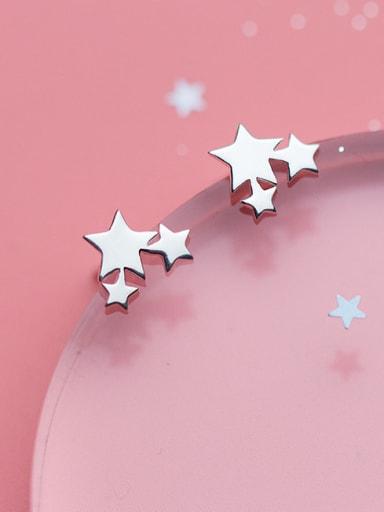Women Trendy Star Shaped S925 Silver Stud Earrings