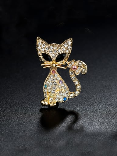 Cat-shaped Zircon Brooch