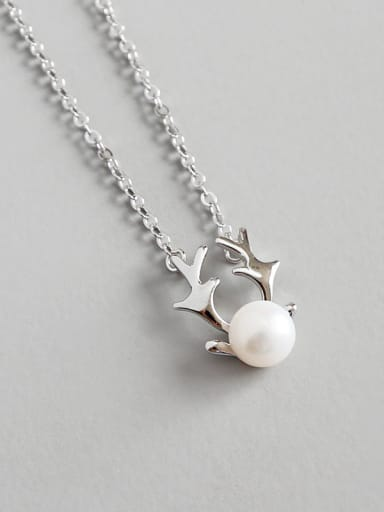 Pure Silver Natural Freshwater Pearl Christmas antlers Necklace