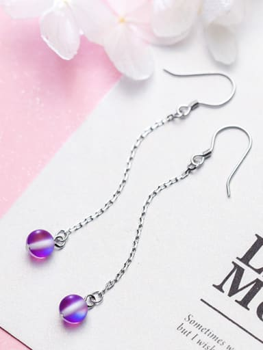 Temperament Purple Frosted Round Shaped Crystal Drop Earrings