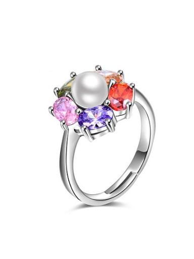 All-match Platinum Plated Flower Shaped Artificial Pearl Ring