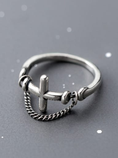 925 Sterling Silver With Chain Vintage Cross Band Rings