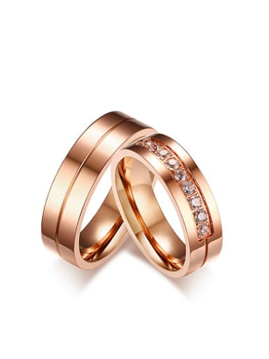 Couples Exquisite Rose Gold Plated AAA Zircon Ring