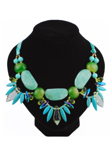 Exaggerated Turquoise stones Green Resin Alloy Necklace