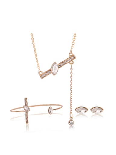 Alloy Imitation-gold Plated Simple style Artificial Stones Three Pieces Jewelry Set