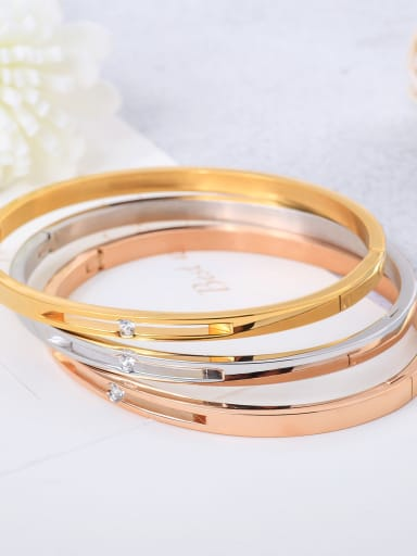 Stainless Steel With Zirconia in minimalist style Bangles