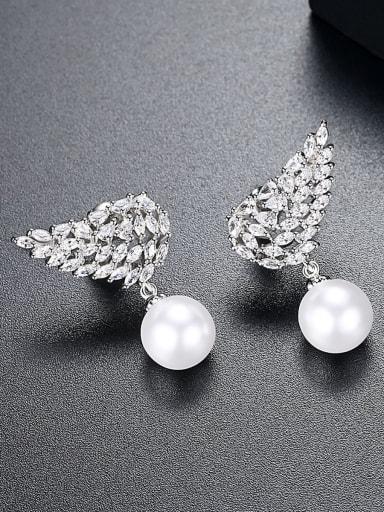 Fashion AAA zircon wings imitation pearl new Earrings