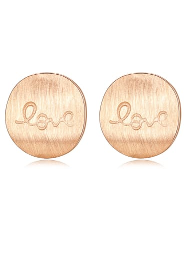 """925 Sterling Silver With Glossy  Simplistic Round  letters """"love""""Stud Earrings"""