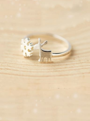 925 Sterling Silver With Platinum Plated Cute Snowflake Fawn Free Size Rings