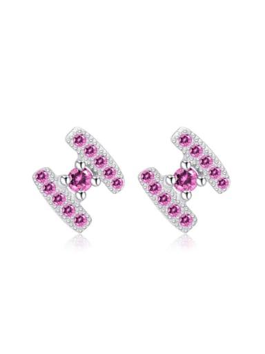 Letter H Shaped Pink White Zircon Stud Earrings