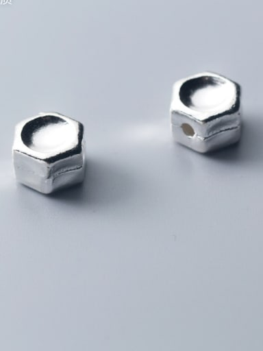 925 Sterling Silver With Platinum Plated Simplistic Geometric Beads