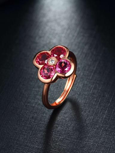 Rose Gold Plated Garnet Gemstones Flowery Statement Ring
