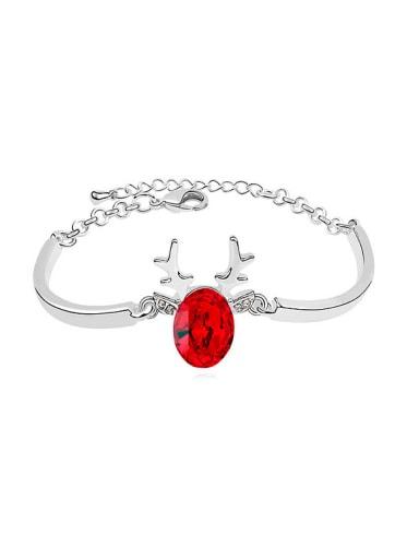 Simple Deer Horn Oval Swarovski Crystal Alloy Bracelet