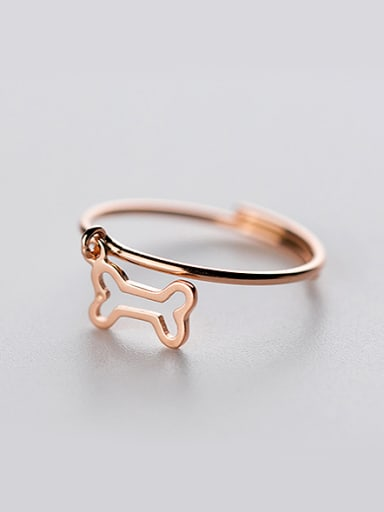 Elegant Hollow Bone Shaped Rose Gold Plated Silver Ring